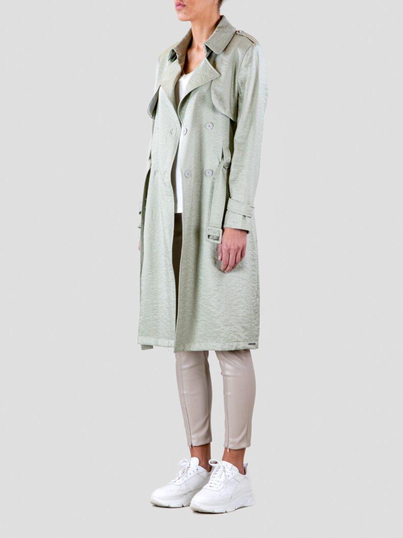 model wearing long trench open coat