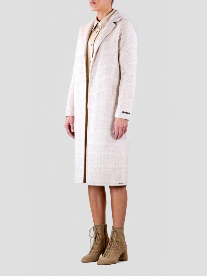 model wearing long woolblend coat