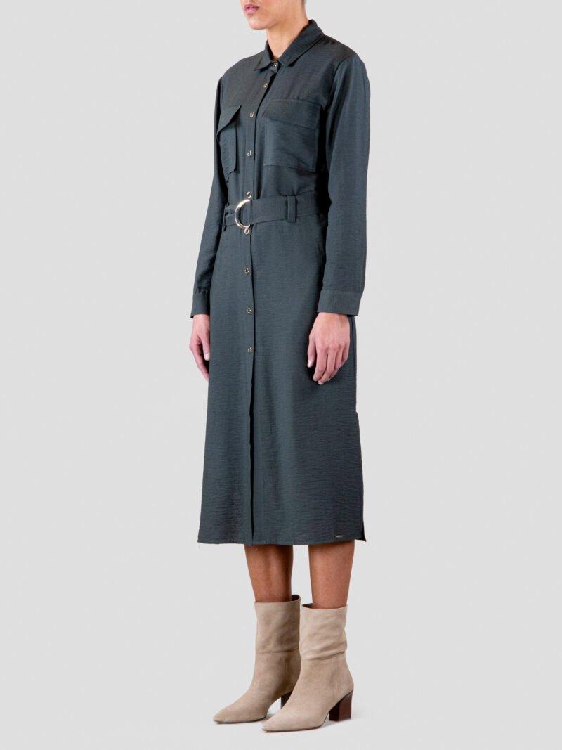 model wearing utility shirt dress