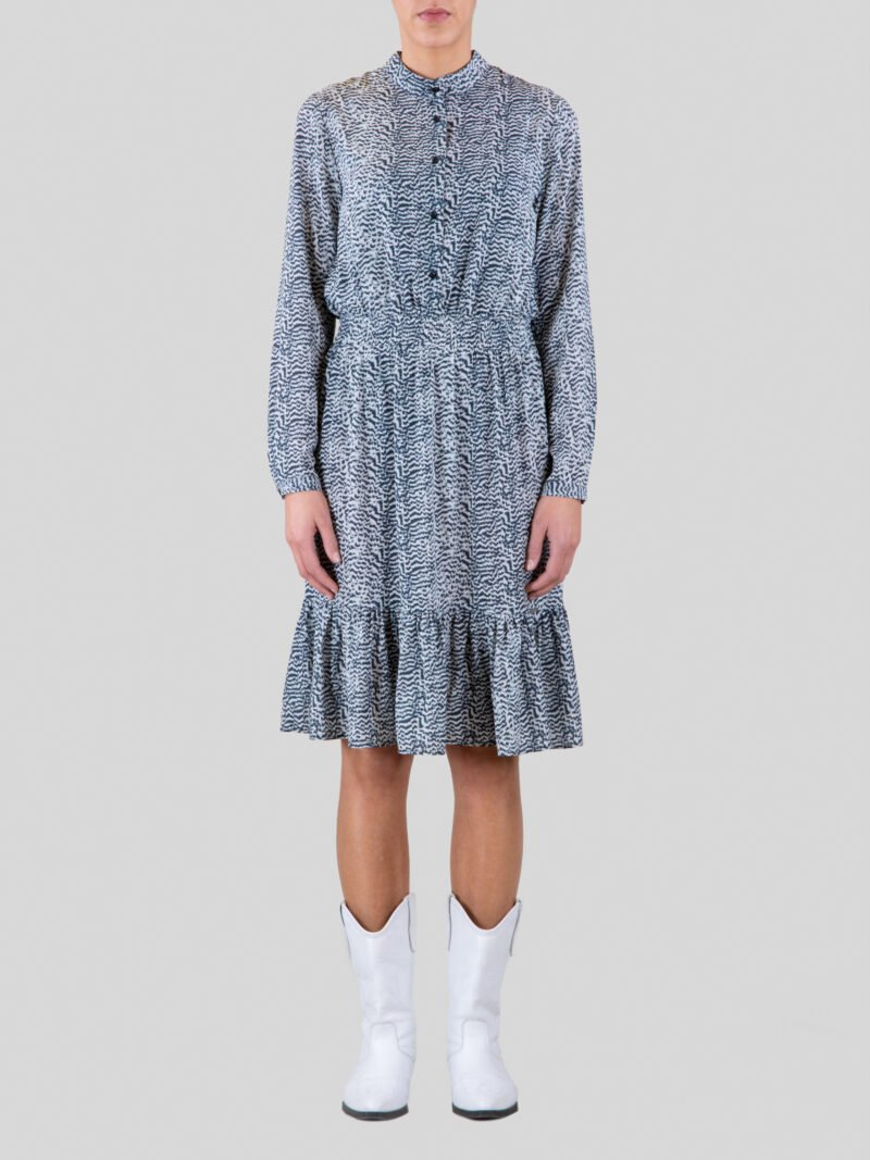 model wearing long printed dress