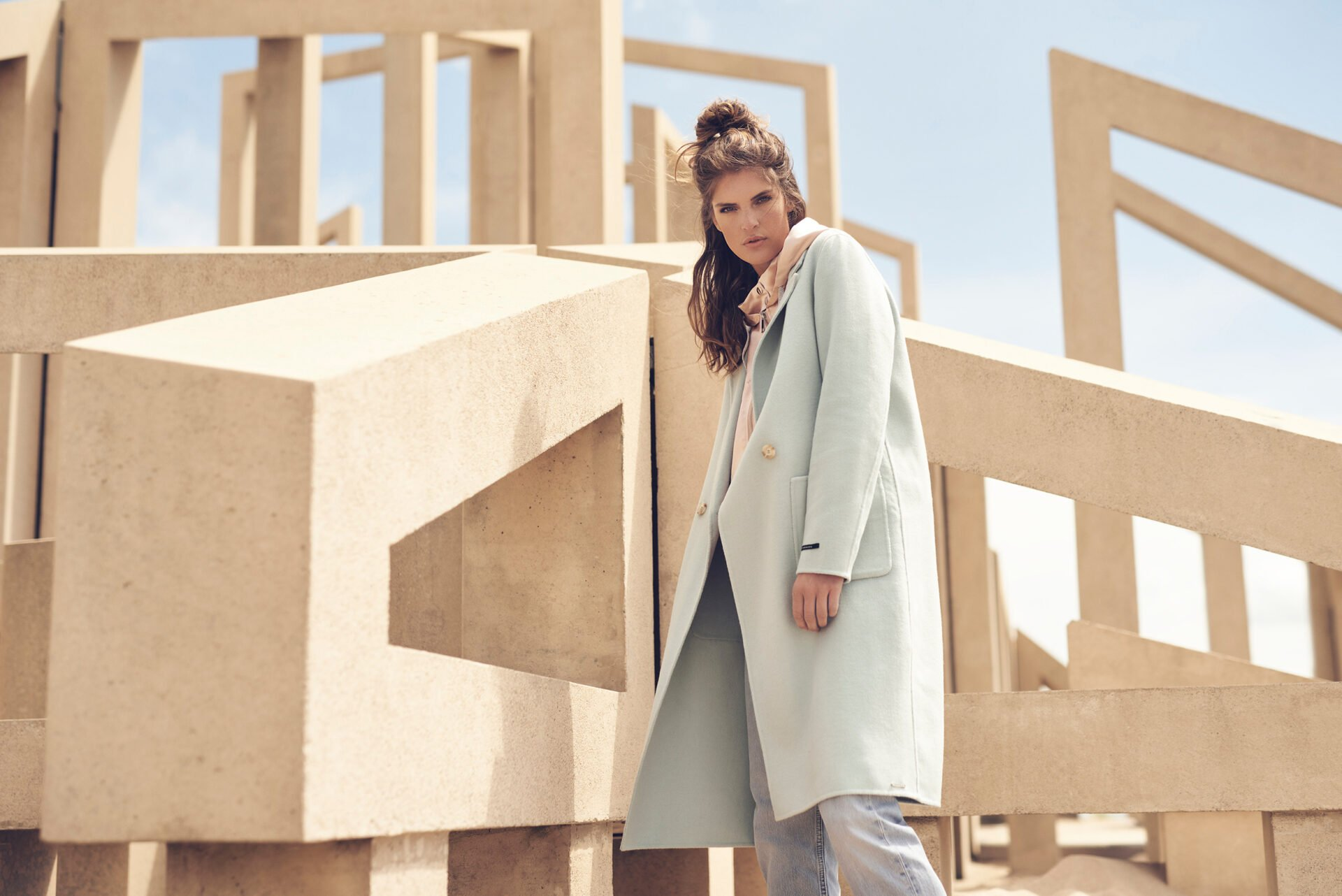 Nidra longlined colbert coat and Romke hooded jacket