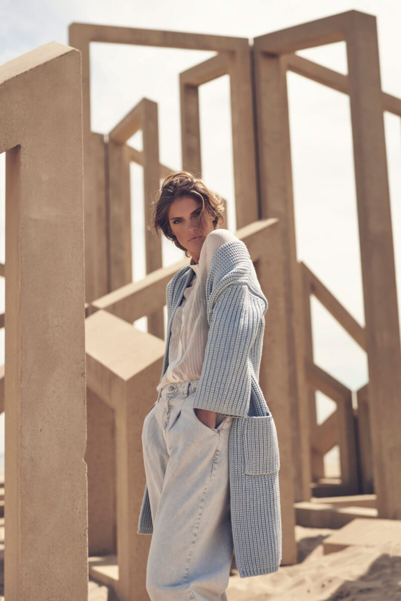 Paskal long knitted vest & Miko lightweight Blouse
